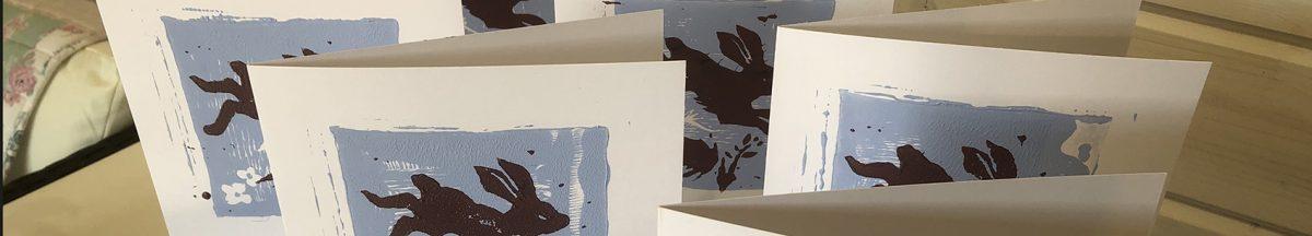 'BunBun' limited edition lino print greetings card